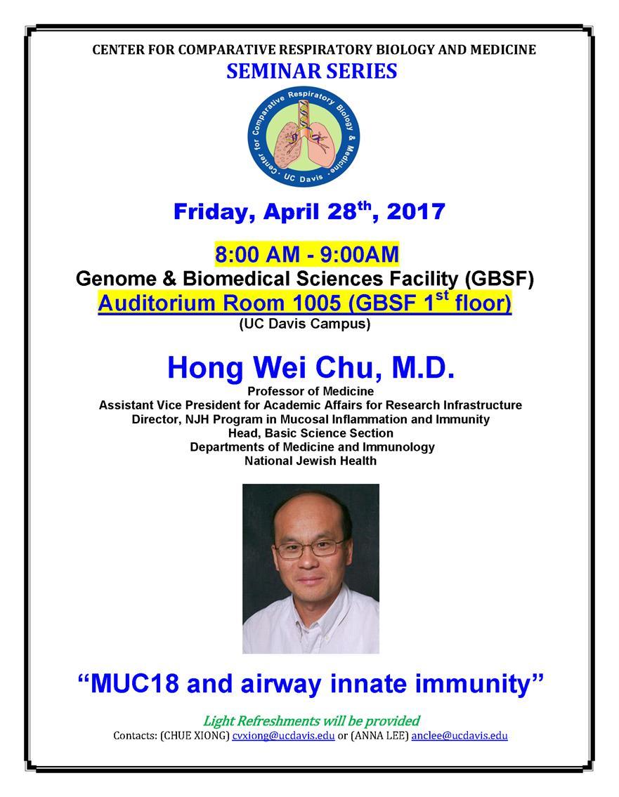 Center for Comparative Respiratory Biology and Medicine Seminar Series
