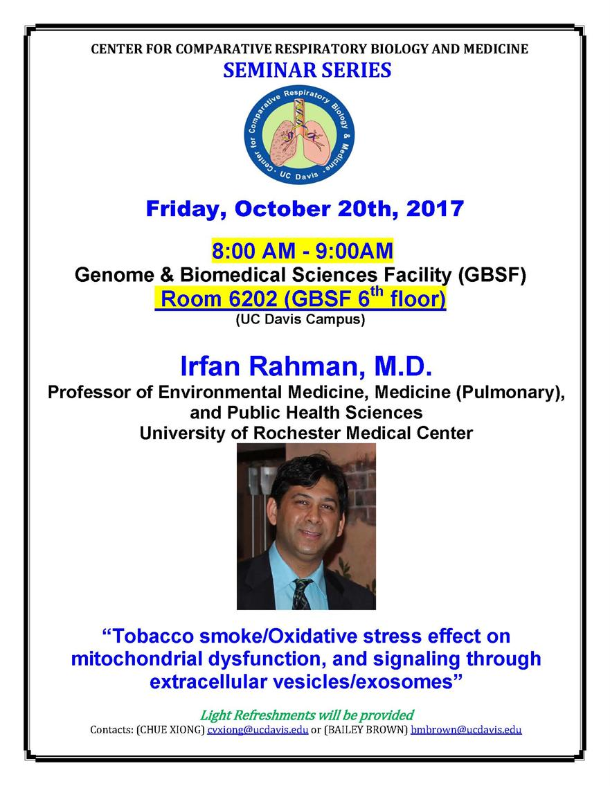 Center for Comparative Respiratory Biology and Medicine Seminar Series
